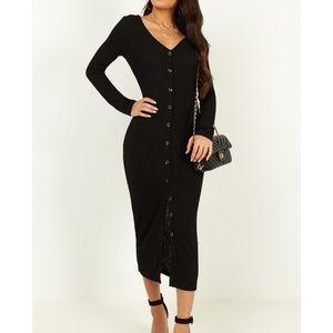 Showpo By The Bonfire Black Ribbed Midi Dress